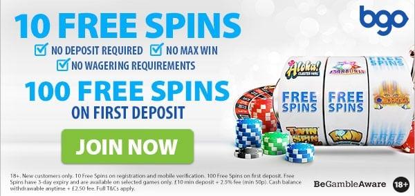 bgo 10 free spins