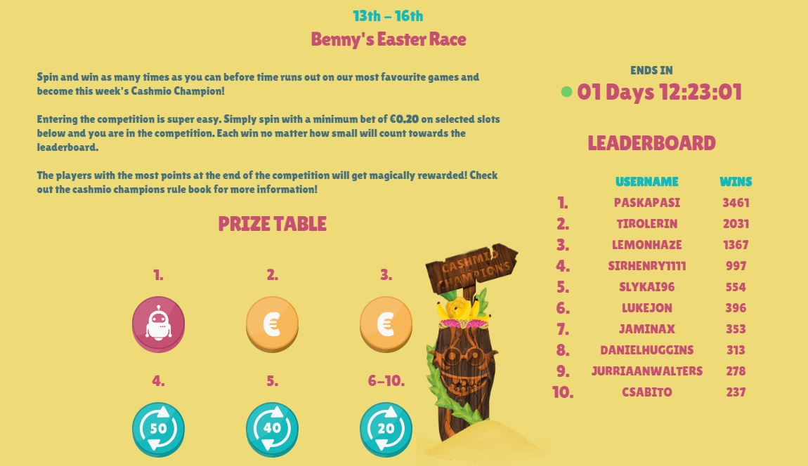 Cashmio Easter Free Spins