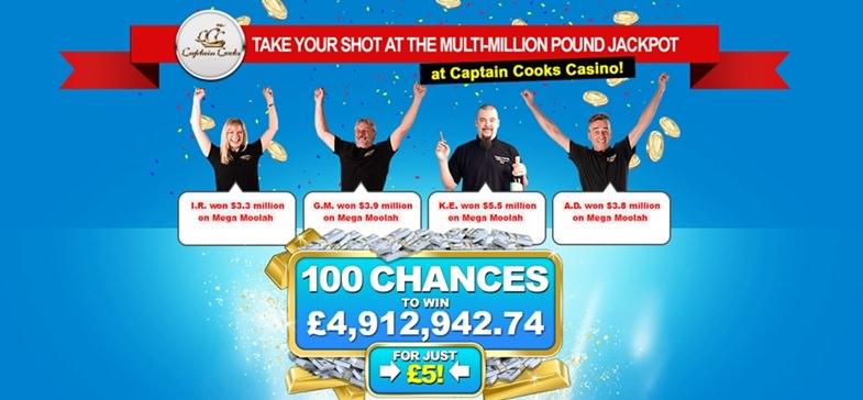 Captain Cook's Casino Mega Moolah Jackpot