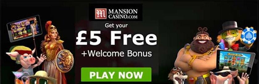 Mansion Casino £5 No Deposit Bonus
