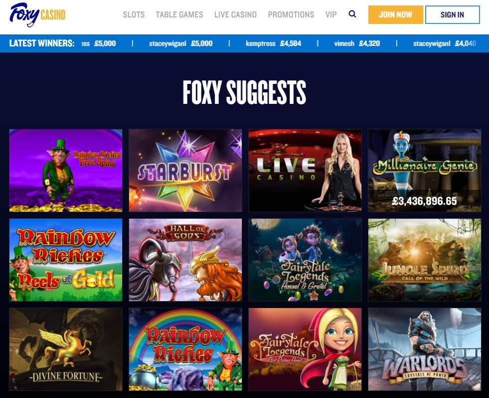 Foxy casino games best online casinos for real money