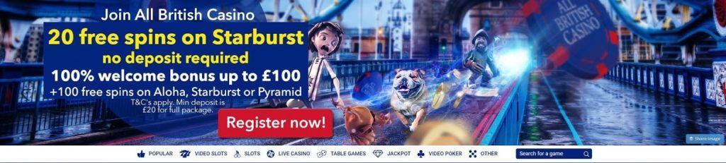 All British Casino Welcome Bonus