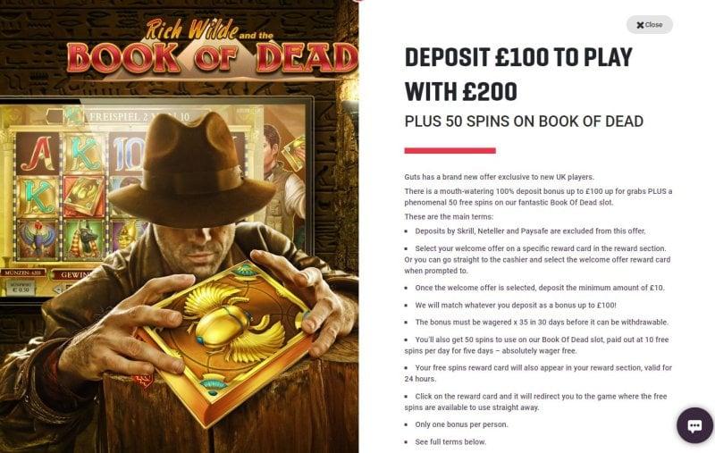 Guts Casino Bonus Codes