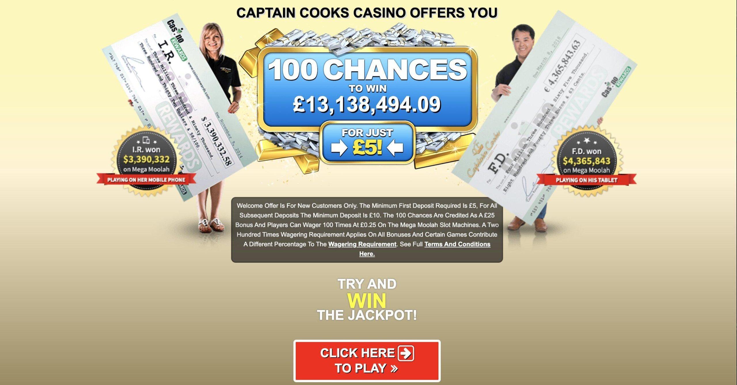 Captain Cooks Jackpot win