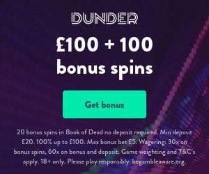 dunder casino UK bonus