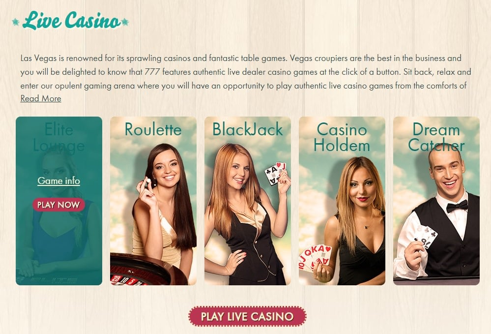 777 live casino games